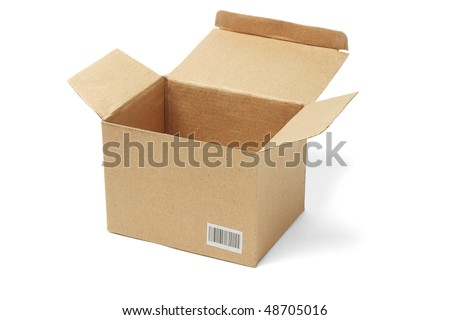 Open brown cardboard box with barcode label on white background (barcode is randomly created)
