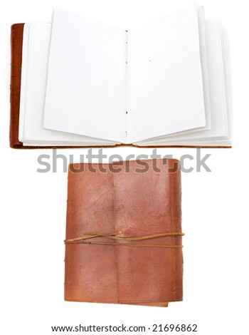 open brown leather bound book open and closed - stock photo