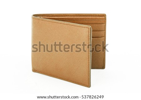 Open brown leather wallet isolated on white background