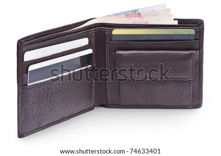 Open brown leather wallet with money - stock photo