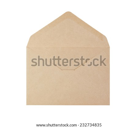 Open brown paper envelope isolated on white background