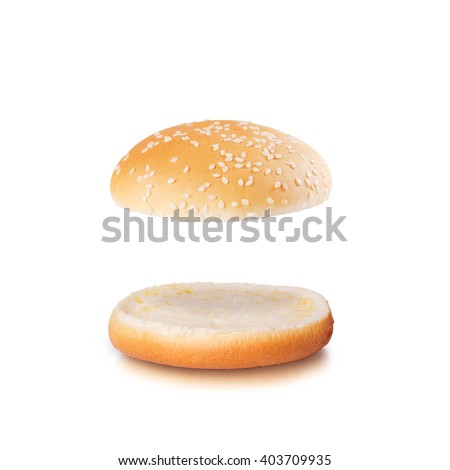 Open burger bun with blank space isolated on the white background - stock photo