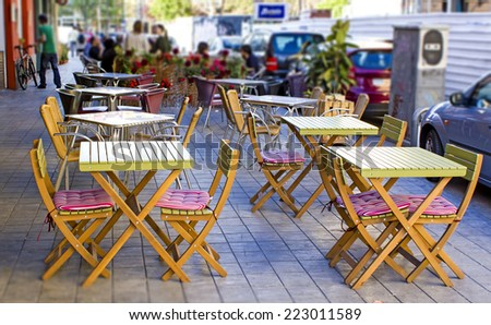 Open cafe terrace in Valencia, Spain - stock photo