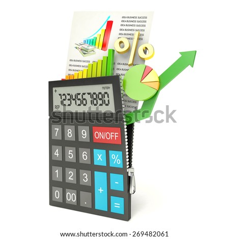 open calculator, isolated white background, 3d - stock photo