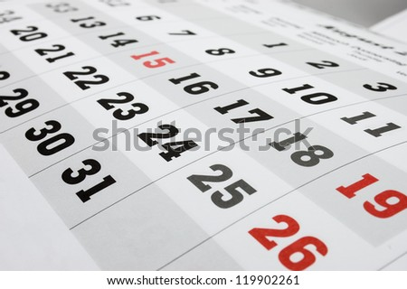 Open calendar page, close up. - stock photo