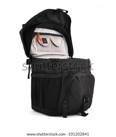 open Camera bag on a white background