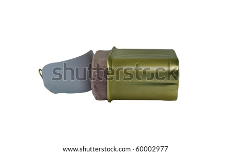 Open can luncheon meat isolated on a white background - stock photo
