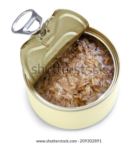 Open can of tuna, isolated on white.