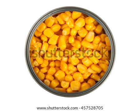 Open can with corn isolated on white - stock photo