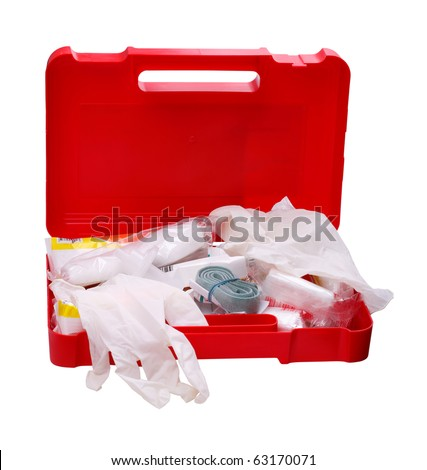 Open car first aid kit isolated on a white background - stock photo