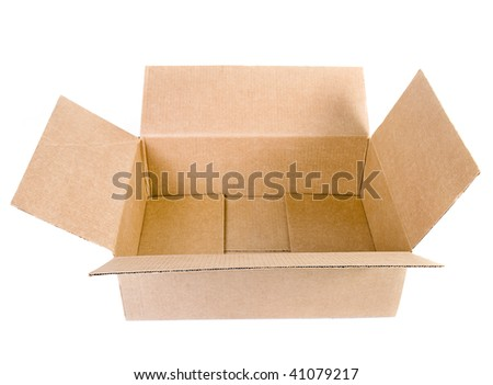 open cardboard box - stock photo