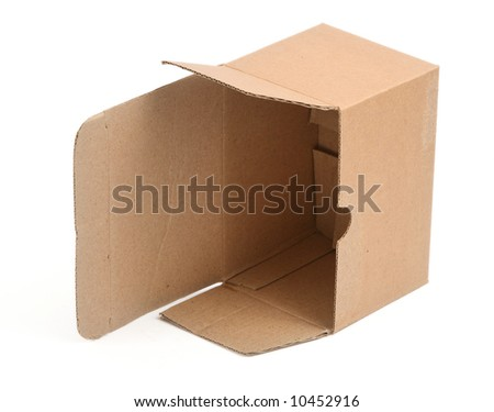 open cardboard box against white background, minimal shadow underneath