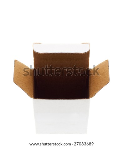 Open cardboard box. Front View. Isolated on White.