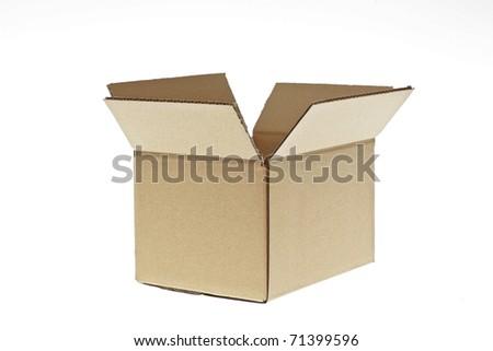 open cardboard box isolated - stock photo