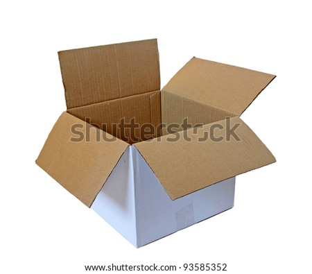 open cardboard box isolated - stock photo