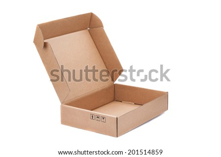 Open Cardboard Box isolated on a White background - stock photo