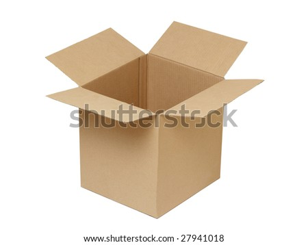 Open cardboard box isolated on the white background.