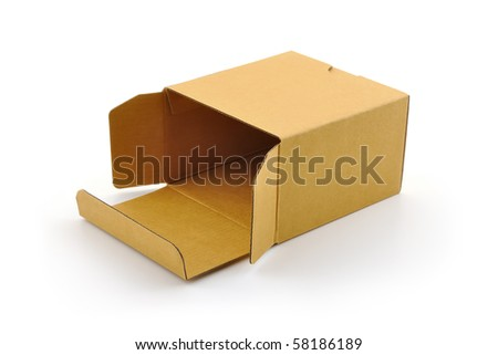 Open cardboard box - isolated on white - stock photo