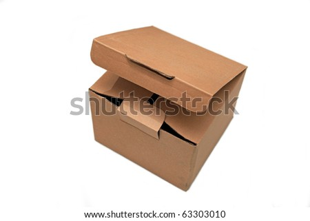 Open cardboard box isolated on white. - stock photo