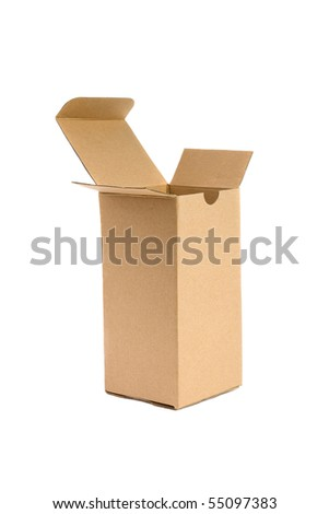 Open cardboard box.  Isolated on white background. - stock photo