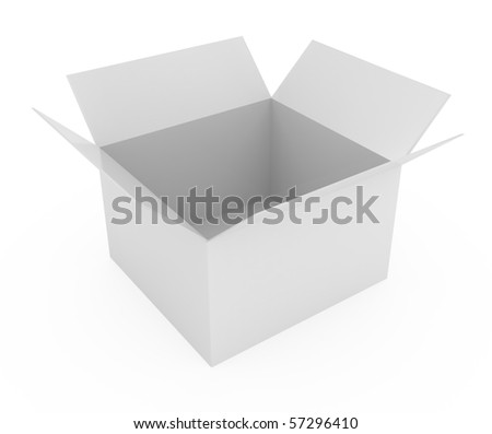 Open Cardboard Box isolated on white - 3d illustration - stock photo