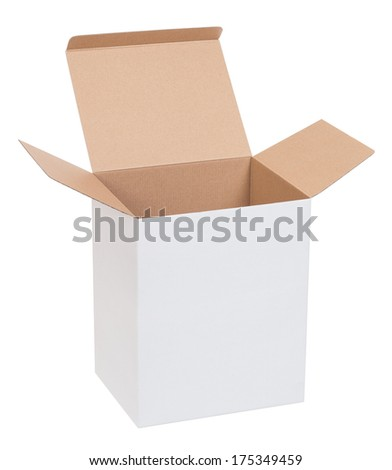 Open cardboard box on a white background - stock photo