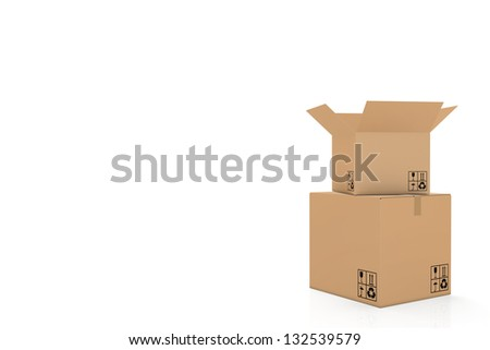 open cardboard box on its right