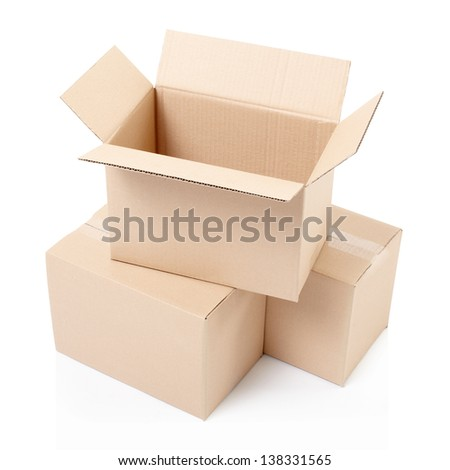 Open cardboard box on top isolated on white, clipping path included
