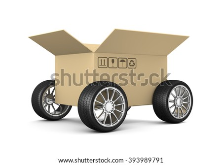 Open Cardboard Box on Wheels on White Background 3D Illustration, Shipment Concept - stock photo