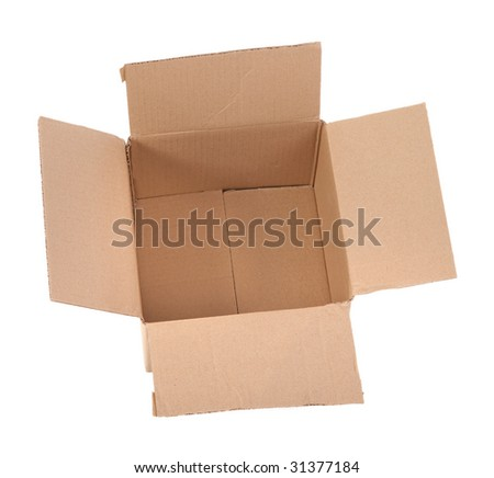 open cardboard box on white background - top view