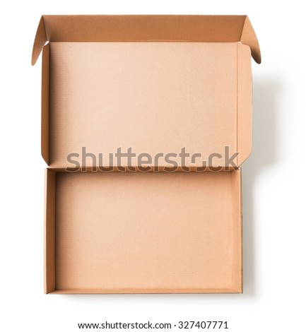 Open cardboard box top view isolated  - stock photo