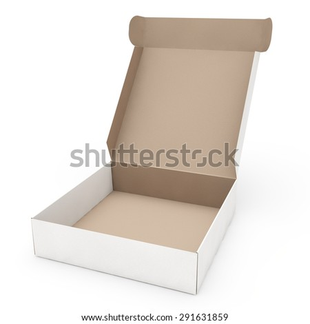 open cardboard box with a white top layer - stock photo