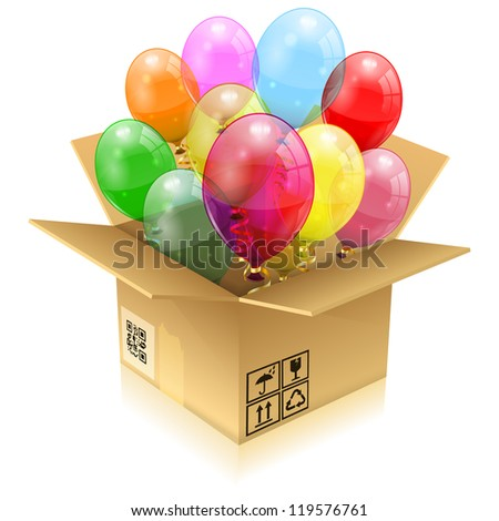 Open Cardboard Box with 3D Transparent Birthday Balloons with Streamer, isolated on white, illustration - stock photo