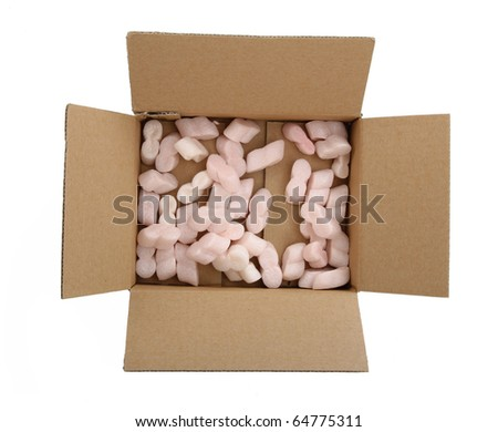 Open cardboard box with soft foam,  isolated on white background - stock photo