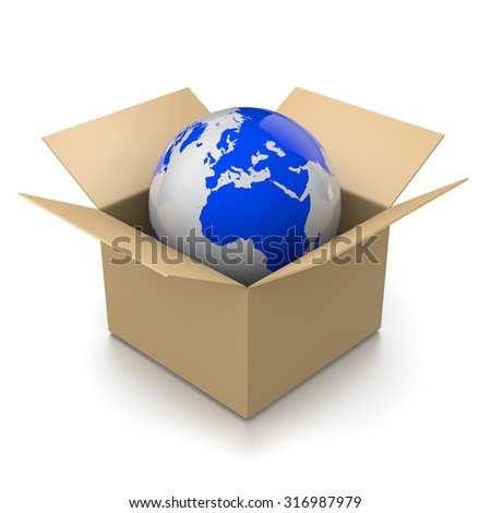Open Cardboard Box with World Inside 3D Illustration on White Background, Shipment Concept - stock photo