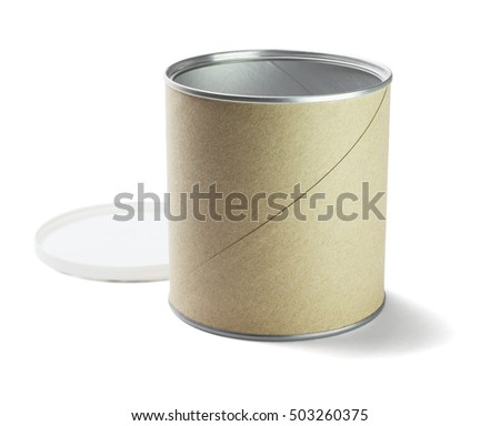 Open Cardboard Container on White Background