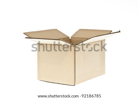 open cardboard isolated on white - stock photo