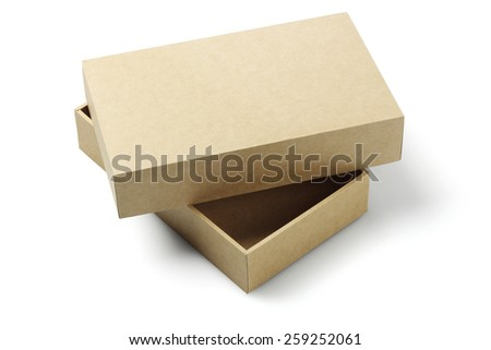Open Cardboard Packaging Box On White Background - stock photo