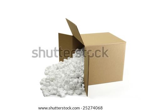 Open Cardboard Shipping Box with Styrofoam peanuts - stock photo