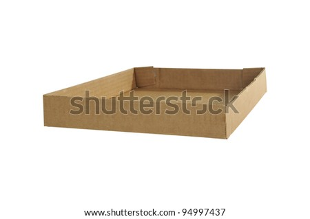 Open cardboard tray isolated over a white background