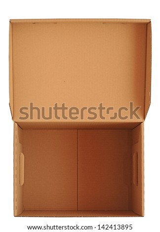 Open carton box isolated on white background - stock photo