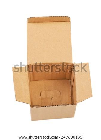 Open carton box isolated on white background - stock photo
