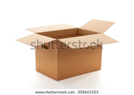 Open carton box isolated over white background - stock photo