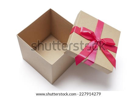 Open carton gift box with red ribbons photographed from the top isolated on white  - stock photo