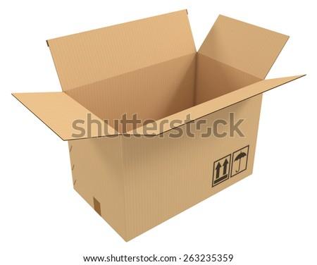 Open carton isolated on white - stock photo