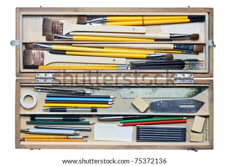 Open case with a range of accessories for the artist isolated on white - stock photo