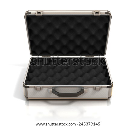 open case with egg crate foam  - stock photo