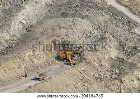 Open-cast mine on mining operations in Asbestos, Russia  - stock photo