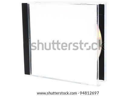 Open CD box with disc on white background - stock photo