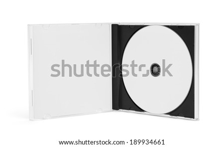 Open CD Case with Disc and Copy Space Isolated on White Background. - stock photo